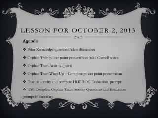 Lesson For October 2, 2013