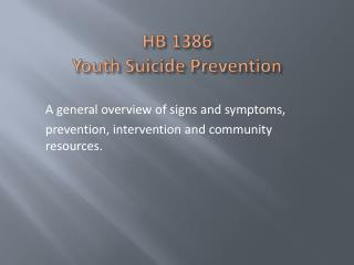 HB 1386 Youth  Suicide Prevention