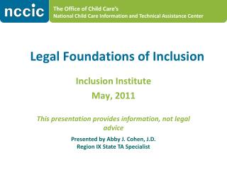 Legal Foundations of Inclusion