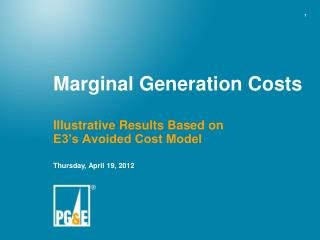 Marginal Generation Costs
