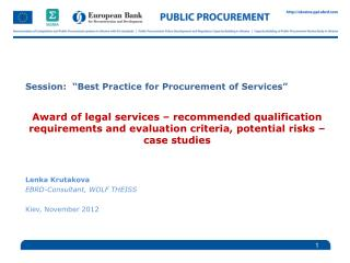 "Session:  ""Best Practice for Procurement of Services"""