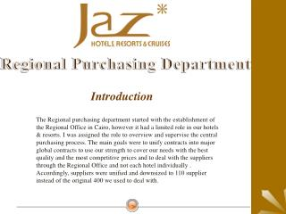 Regional Purchasing Department