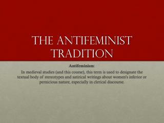 The antifeminist tradition