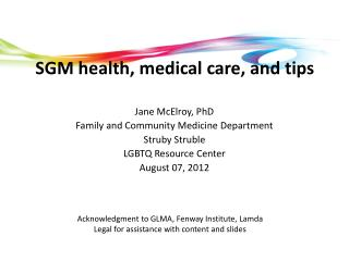 SGM health, medical care, and tips