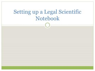 Setting up a Legal Scientific Notebook