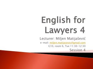 English for Lawyers 4