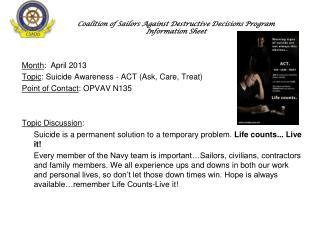 Coalition of Sailors Against Destructive Decisions Program  Information Sheet