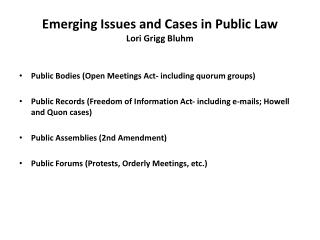 Emerging Issues and Cases in Public Law   Lori  Grigg Bluhm