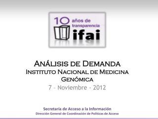 Análisis de  Demanda Instituto Nacional de Medicina Genómica