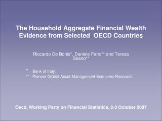 The Household Aggregate Financial Wealth Evidence from Selected  OECD Countries