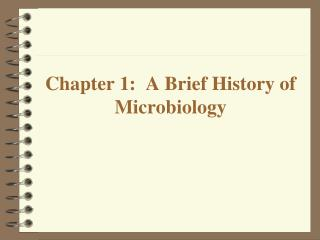Chapter 1:   A Brief History of Microbiology