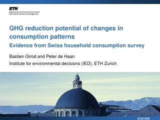 GHG reduction potential of changes in consumption patterns Evidence from Swiss household consumption survey