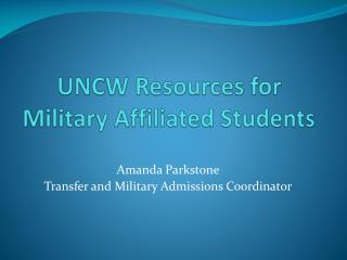 UNCW Resources for Military Affiliated Students