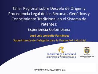 José Luis Londoño Fernández Superintendente Delegado para la Propiedad Industrial