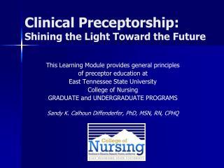 Clinical Preceptorship: Shining the Light Toward the Future