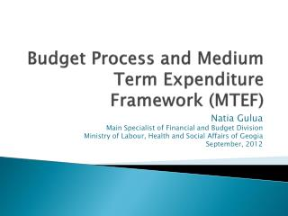 Budget Process and Medium Term Expenditure Framework (MTEF)