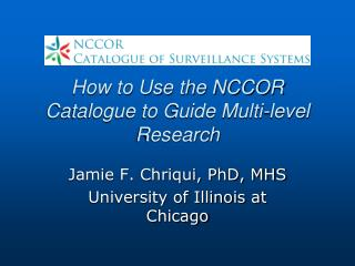 How to Use the NCCOR Catalogue to Guide Multi-level Research