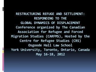 JURIDICAL, POLITICAL AND SOCIAL STIGMATIZATION OF THE COLOMBIAN REFUGEES. JUAN PABLO SERRANO FRATTALI