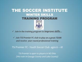 The Soccer  Institute winter  Skills Training  Program