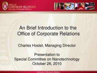 Charles Hoslet,  Managing Director WAA Founder's Day Presentation April 23, 2008