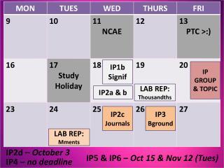 IP4 –  no deadline