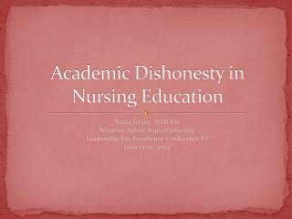 Academic Dishonesty in Nursing Education