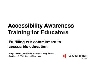 Accessibility Awareness Training for Educators