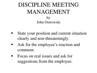 discipline meeting management by  john ostrowski