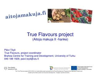 Päivi Töyli True Flavours, project coordinator Brahea Centre for Training and Development, University of Turku 040 189