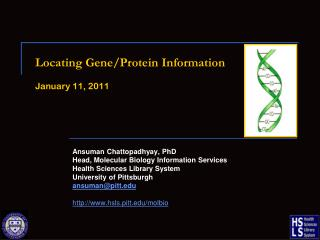 Locating Gene/Protein Information January 11, 2011