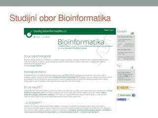 Studijn í obor Bioinformatika