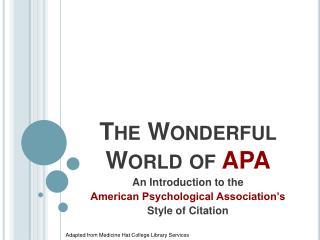 The Wonderful World of  APA