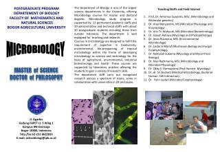 POSTGRADUATE PROGRAM DEPARTEMENT OF BIOLOGY FACULTY OF  MATHEMATICS  AND  NATURAL SCIENCES  BOGOR AGRICULTURAL UNIVERSI