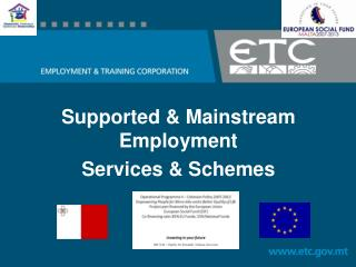 Supported & Mainstream Employment  Services & Schemes
