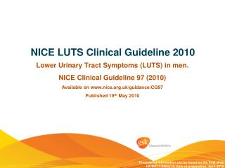 NICE LUTS Clinical Guideline 2010