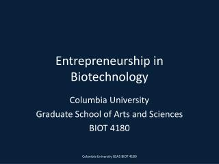 Entrepreneurship in Biotechnology