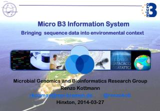Micro B3 Information System   Bringing  sequence data into environmental context