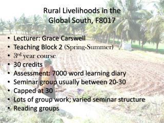 Rural Livelihoods in the  Global  South, F8017