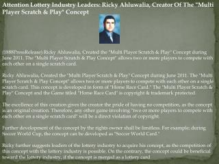 attention lottery industry leaders: ricky ahluwalia, creator