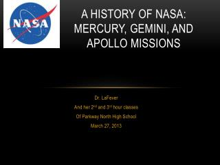 A History of NASA: Mercury, Gemini, and Apollo Missions