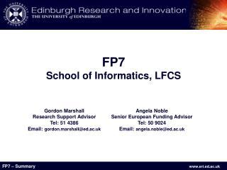 FP7 School of Informatics, LFCS