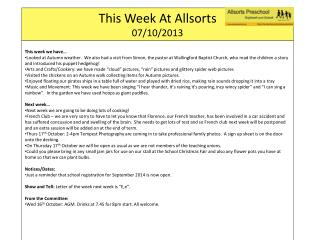 This Week At  Allsorts 07 /10/ 2013