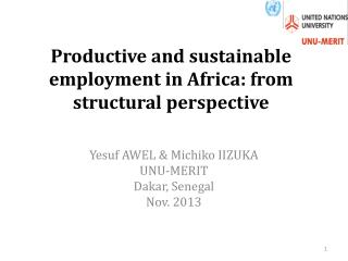 Productive and sustainable employment in Africa: from structural perspective