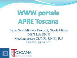 WWW portale APRE Toscana