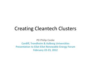 Creating  C leantech Clusters