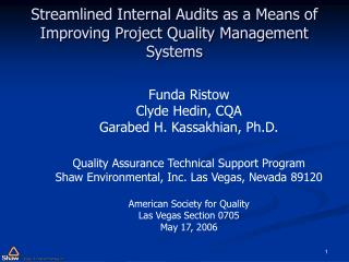 streamlined internal audits as a means of improving project quality management systems