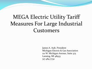 MEGA Electric Utility  Tariff  Measures For Large Industrial  Customers