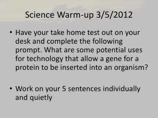 Science Warm-up 3/5/2012