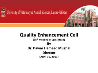 Quality Enhancement Cell  (18 th  Meeting of QECs Head) By Dr.  Dawar Hameed  Mughal Director (April 16, 2013)