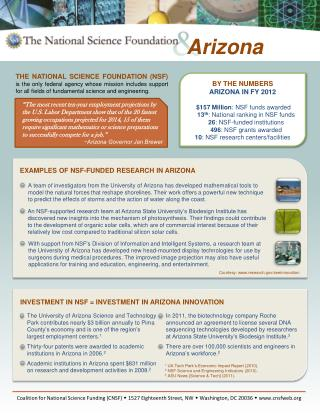 BY THE NUMBERS ARIZONA IN FY 2012